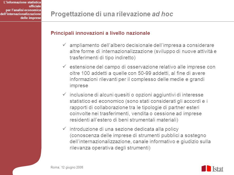 Progettazione di una rilevazione ad hoc Roma, 12 giugno 2008 Principali innovazioni a livello nazionale ampliamento dellalbero decisionale dellimpresa