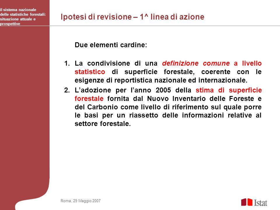 Ipotesi di revisione – 1^ linea di azione il sistema nazionale delle statistiche forestali: situazione attuale e prospettive Roma, 29 Maggio 2007 Due