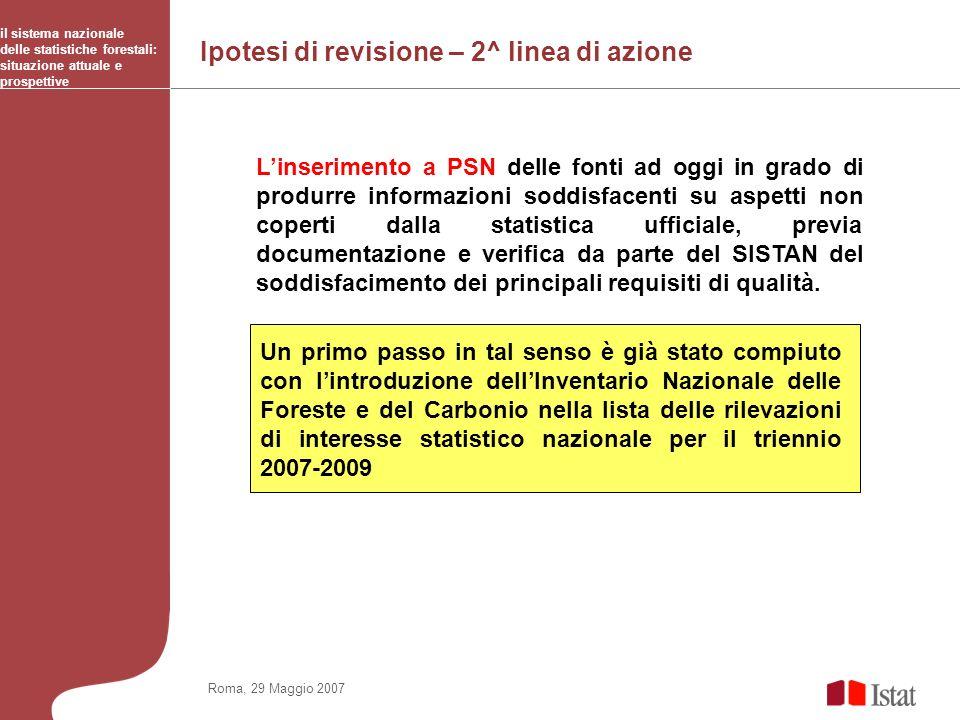 Ipotesi di revisione – 2^ linea di azione il sistema nazionale delle statistiche forestali: situazione attuale e prospettive Roma, 29 Maggio 2007 Lins
