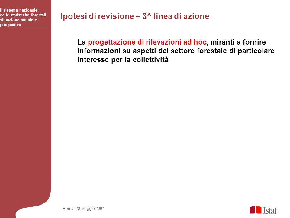 Ipotesi di revisione – 3^ linea di azione il sistema nazionale delle statistiche forestali: situazione attuale e prospettive Roma, 29 Maggio 2007 La p
