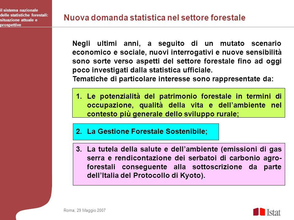 Nuova domanda statistica nel settore forestale il sistema nazionale delle statistiche forestali: situazione attuale e prospettive Roma, 29 Maggio 2007
