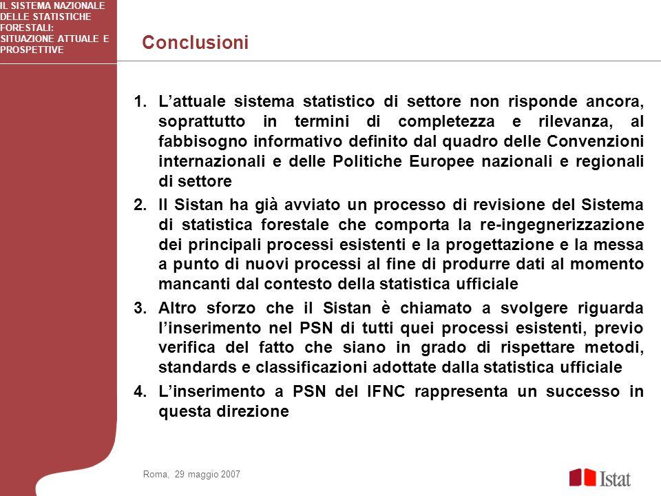 Conclusioni IL SISTEMA NAZIONALE DELLE STATISTICHE FORESTALI: SITUAZIONE ATTUALE E PROSPETTIVE 1.Lattuale sistema statistico di settore non risponde a