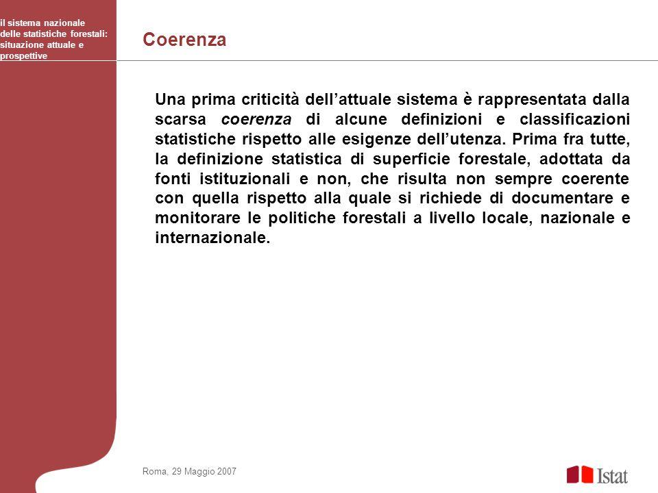 Coerenza il sistema nazionale delle statistiche forestali: situazione attuale e prospettive Roma, 29 Maggio 2007 Una prima criticità dellattuale siste