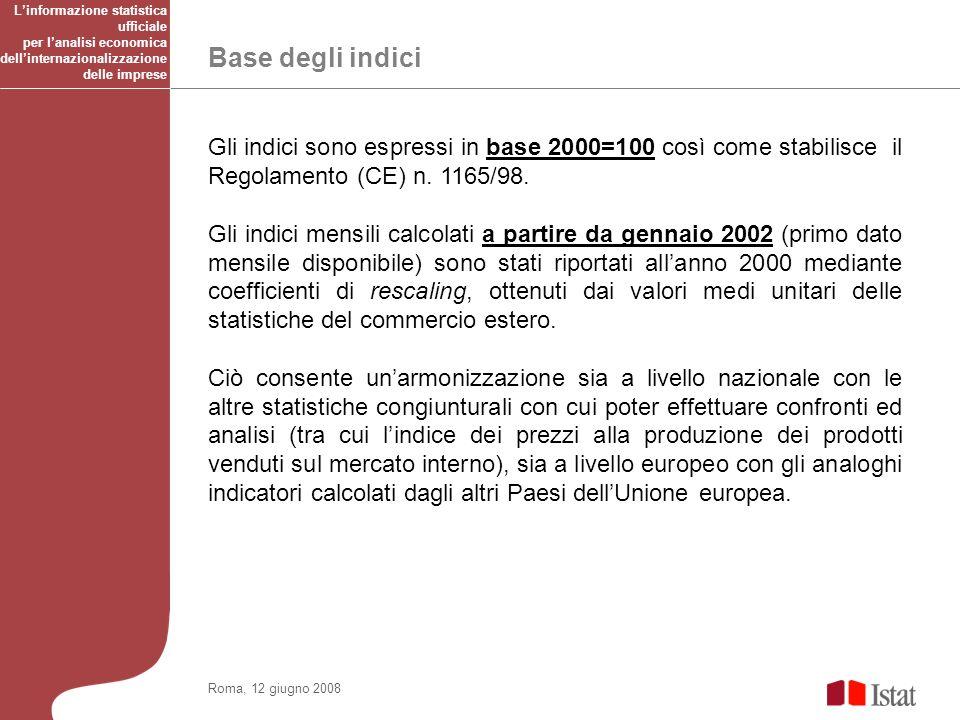 Base degli indici Roma, 12 giugno 2008 Gli indici sono espressi in base 2000=100 così come stabilisce il Regolamento (CE) n.