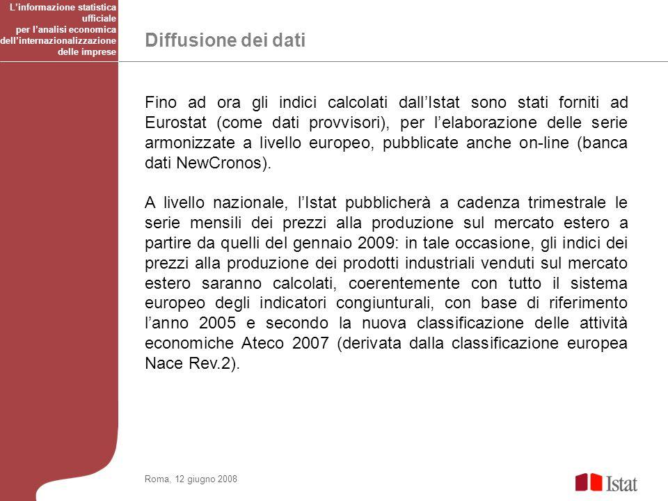 Diffusione dei dati Roma, 12 giugno 2008 Fino ad ora gli indici calcolati dallIstat sono stati forniti ad Eurostat (come dati provvisori), per lelaborazione delle serie armonizzate a livello europeo, pubblicate anche on-line (banca dati NewCronos).