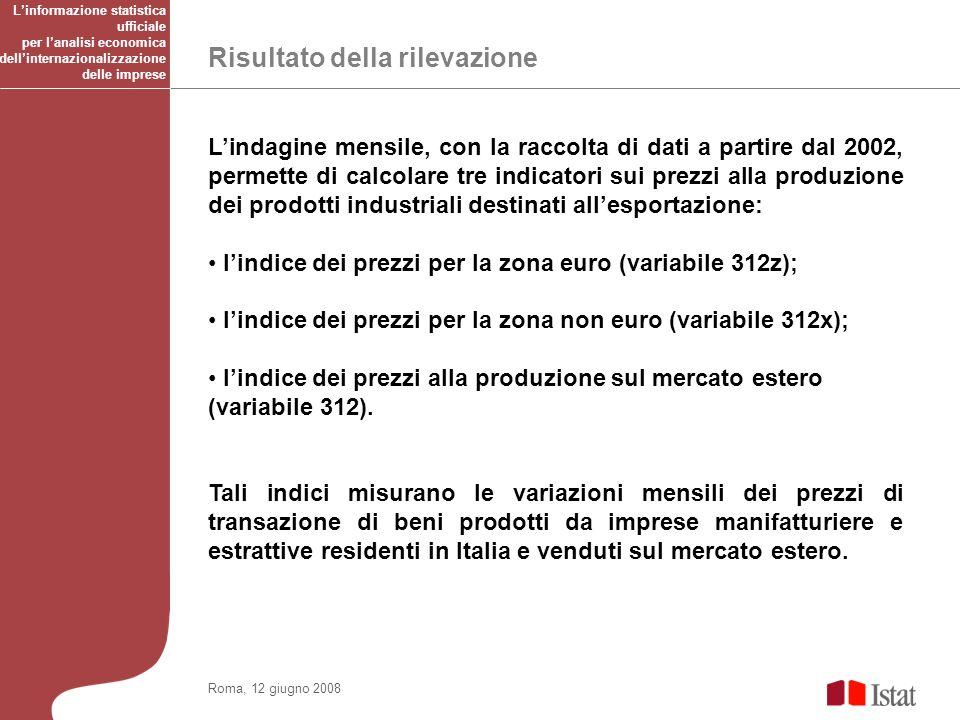 Risultato della rilevazione Roma, 12 giugno 2008 Lindagine mensile, con la raccolta di dati a partire dal 2002, permette di calcolare tre indicatori sui prezzi alla produzione dei prodotti industriali destinati allesportazione: lindice dei prezzi per la zona euro (variabile 312z); lindice dei prezzi per la zona non euro (variabile 312x); lindice dei prezzi alla produzione sul mercato estero (variabile 312).