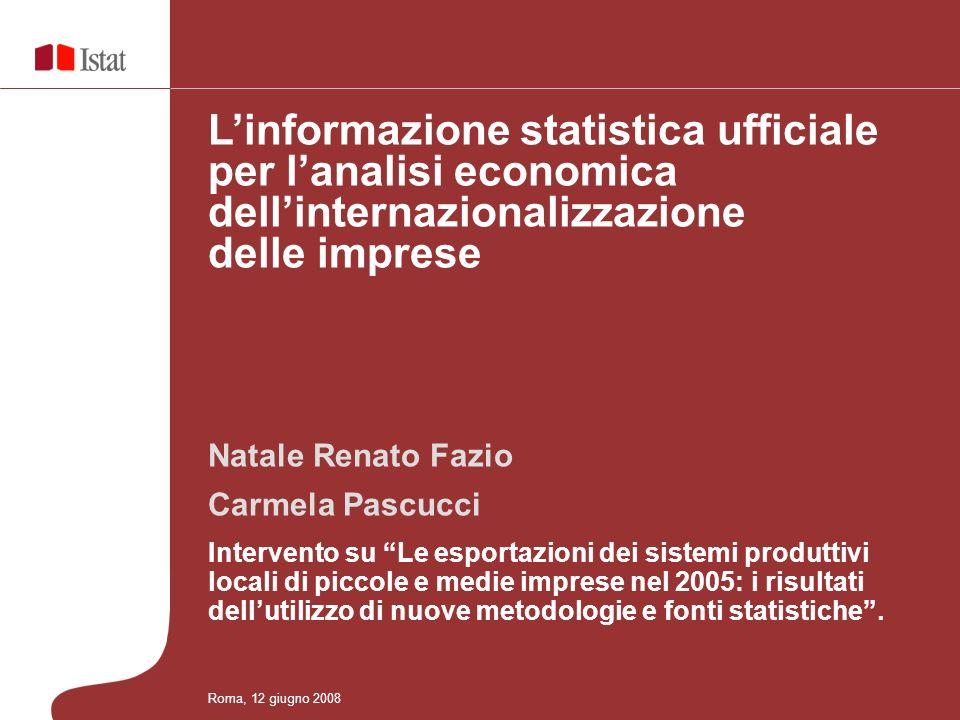 Principali risultati - Prodotti a medio-alta tecnologia Roma, 12 giugno 2008 Cartogramma 3 – Specializzazione e competitività dei sistemi locali del lavoro nelle esportazioni di prodotti a medio-alta tecnologia - Anno 2005 (Coefficienti di localizzazione e Indicatore di dimensione relativa di export) Milano (10,8%) Torino (8%) Bergamo (3,7%) Brescia (2,1%) Modena (2,3%) Bologna (3,6%) Atessa (1%) Vasto(0,3%) Napoli (1,2%) Avellino (0,4%) Bari (0,6%) Brindisi (0,3%) Melfi (0,5%) Linformazione statistica ufficiale per lanalisi economica dellinternazionalizzazione delle imprese
