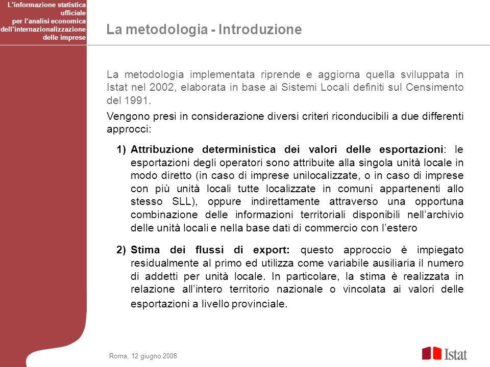Roma, 12 giugno 2008 La metodologia – Criteri di classificazione delle imprese 1.Unilocalizzate perché assenti in ASIA_Unita_locali 2.Unilocalizzate in ASIA_Unità_locali 3.Plurilocalizzate ma considerate come unilocalizzate nel SLL 4.Plurilocalizzate ma considerate unilocalizzate in un unico SLL allinterno della provincia di export 5.Plurilocalizzate in più SLL inclusi nelle province di export 6.Plurilocalizzate in più SLL non inclusi nelle province di export Linformazione statistica ufficiale per lanalisi economica dellinternazionalizzazione delle imprese
