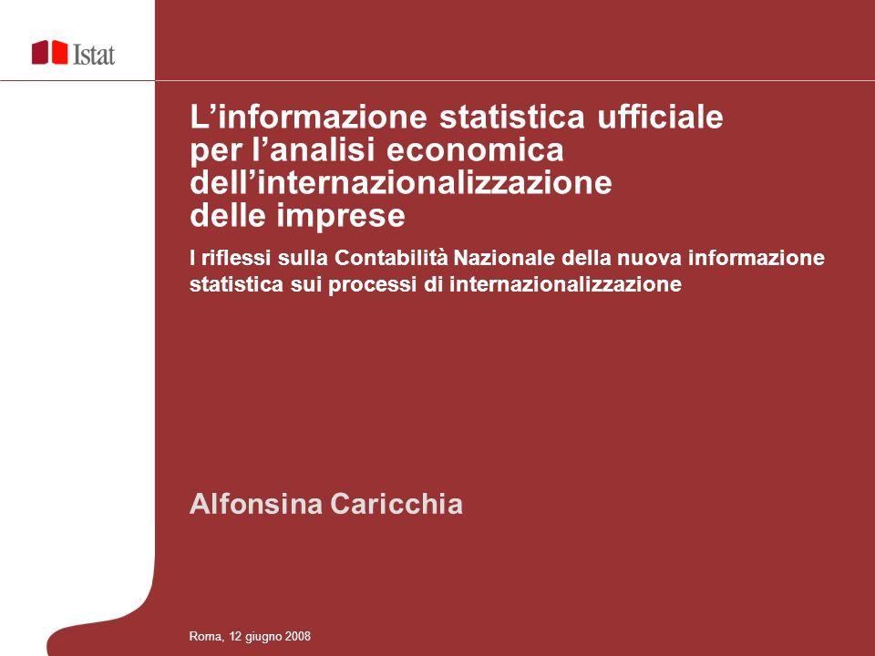 Alfonsina Caricchia I riflessi sulla Contabilità Nazionale della nuova informazione statistica sui processi di internazionalizzazione Linformazione statistica ufficiale per lanalisi economica dellinternazionalizzazione delle imprese Roma, 12 giugno 2008