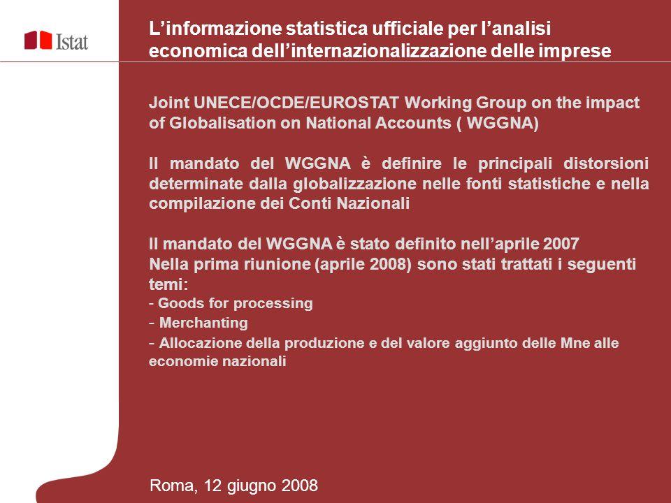 Linformazione statistica ufficiale per lanalisi economica dellinternazionalizzazione delle imprese Joint UNECE/OCDE/EUROSTAT Working Group on the impact of Globalisation on National Accounts ( WGGNA) Il mandato del WGGNA è definire le principali distorsioni determinate dalla globalizzazione nelle fonti statistiche e nella compilazione dei Conti Nazionali Il mandato del WGGNA è stato definito nellaprile 2007 Nella prima riunione (aprile 2008) sono stati trattati i seguenti temi: - Goods for processing - Merchanting - Allocazione della produzione e del valore aggiunto delle Mne alle economie nazionali Roma, 12 giugno 2008