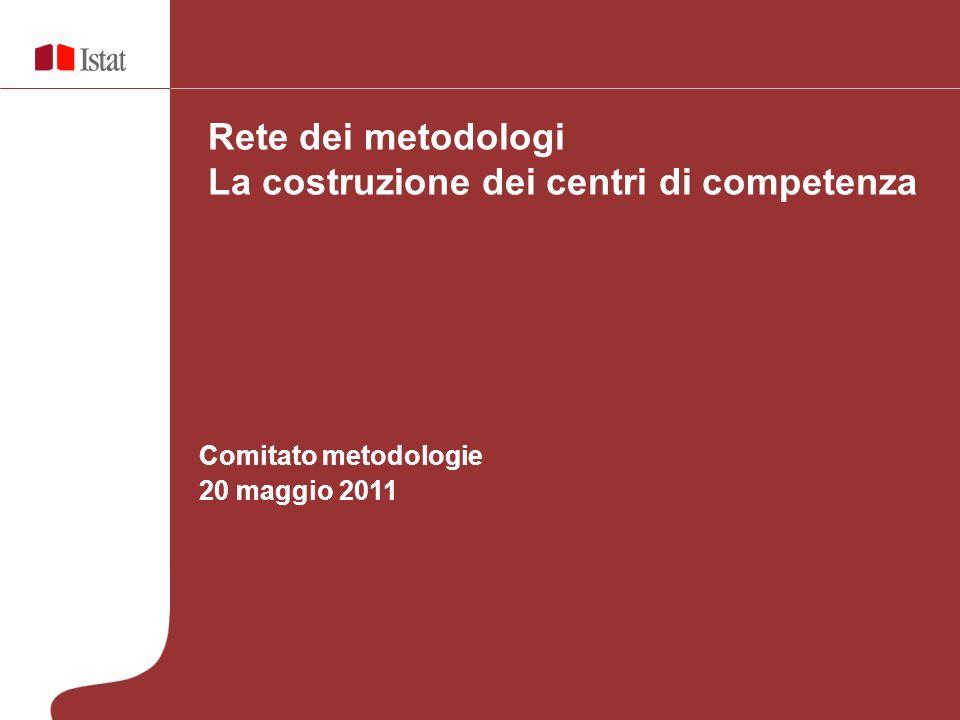 Comitato metodologie 20 maggio 2011 Rete dei metodologi La costruzione dei centri di competenza