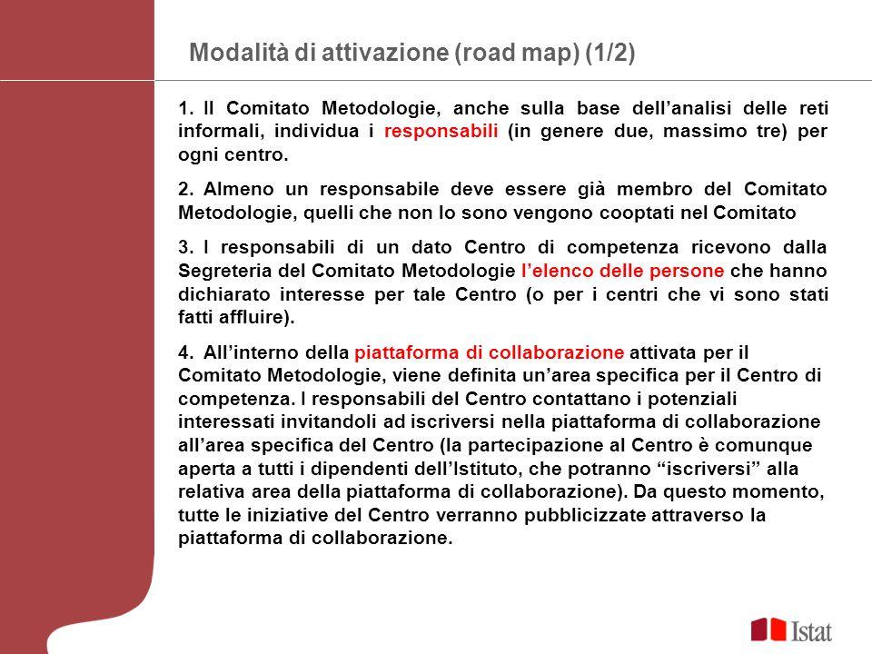 Modalità di attivazione (road map) (1/2) 1.Il Comitato Metodologie, anche sulla base dellanalisi delle reti informali, individua i responsabili (in genere due, massimo tre) per ogni centro.