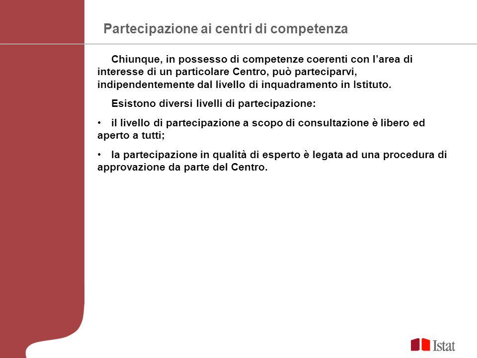 Partecipazione ai centri di competenza Chiunque, in possesso di competenze coerenti con larea di interesse di un particolare Centro, può parteciparvi, indipendentemente dal livello di inquadramento in Istituto.