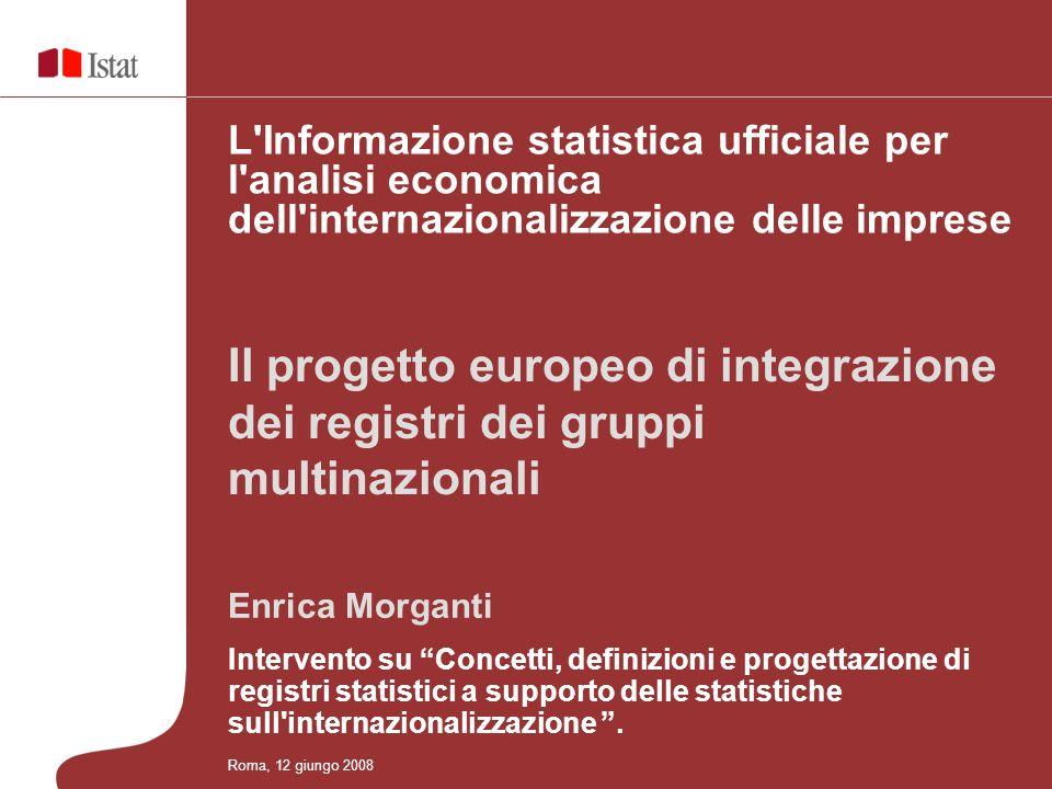 Enrica Morganti Intervento su Concetti, definizioni e progettazione di registri statistici a supporto delle statistiche sull internazionalizzazione.