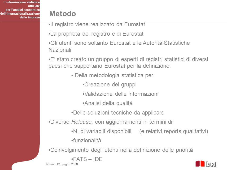 Il registro viene realizzato da Eurostat La proprietà del registro è di Eurostat Gli utenti sono soltanto Eurostat e le Autorità Statistiche Nazionali E stato creato un gruppo di esperti di registri statistici di diversi paesi che supportano Eurostat per la definizione: Della metodologia statistica per: Creazione dei gruppi Validazione delle informazioni Analisi della qualità Delle soluzioni tecniche da applicare Diverse Release, con aggiornamenti in termini di: N.