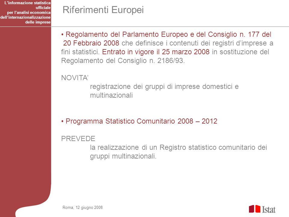 Riferimenti Europei Roma, 12 giugno 2008 Regolamento del Parlamento Europeo e del Consiglio n.