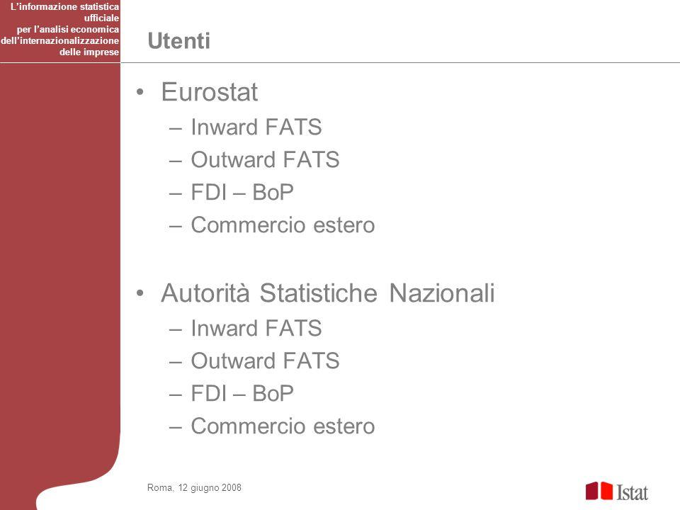 Utenti Roma, 12 giugno 2008 Eurostat –Inward FATS –Outward FATS –FDI – BoP –Commercio estero Autorità Statistiche Nazionali –Inward FATS –Outward FATS –FDI – BoP –Commercio estero Linformazione statistica ufficiale per lanalisi economica dellinternazionalizzazione delle imprese