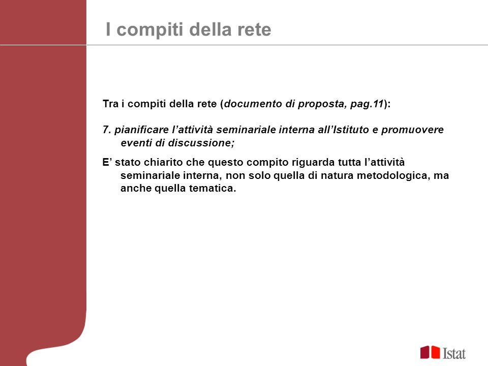 I compiti della rete Tra i compiti della rete (documento di proposta, pag.11): 7.