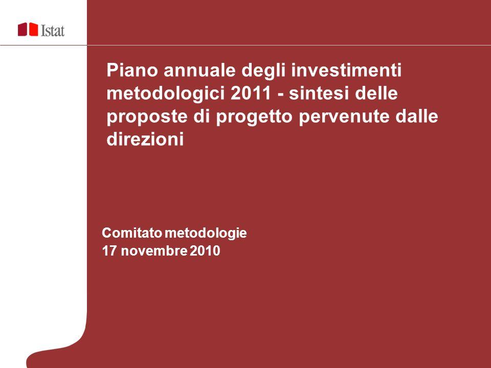 Comitato metodologie 17 novembre 2010 Piano annuale degli investimenti metodologici 2011 - sintesi delle proposte di progetto pervenute dalle direzioni