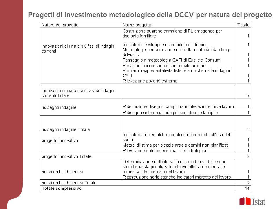 Progetti di investimento metodologico della DCCV per natura del progetto