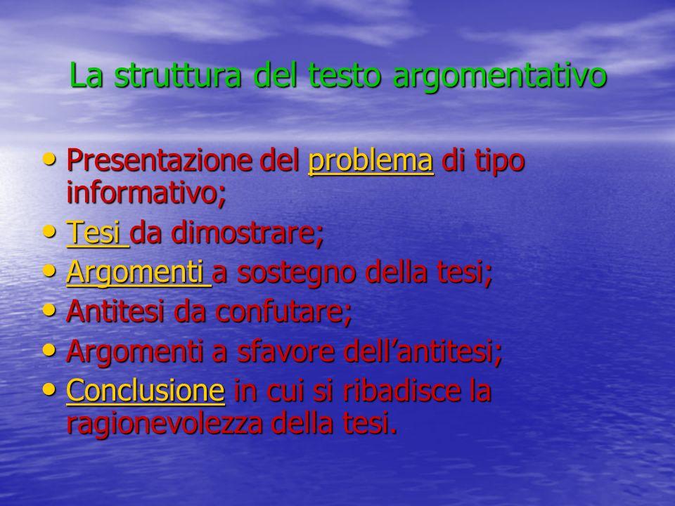 La struttura del testo argomentativo Presentazione del problema di tipo informativo; Presentazione del problema di tipo informativo;problema Tesi da d
