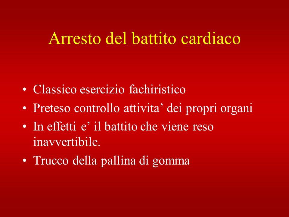Arresto del battito cardiaco Classico esercizio fachiristico Preteso controllo attivita dei propri organi In effetti e il battito che viene reso inavv