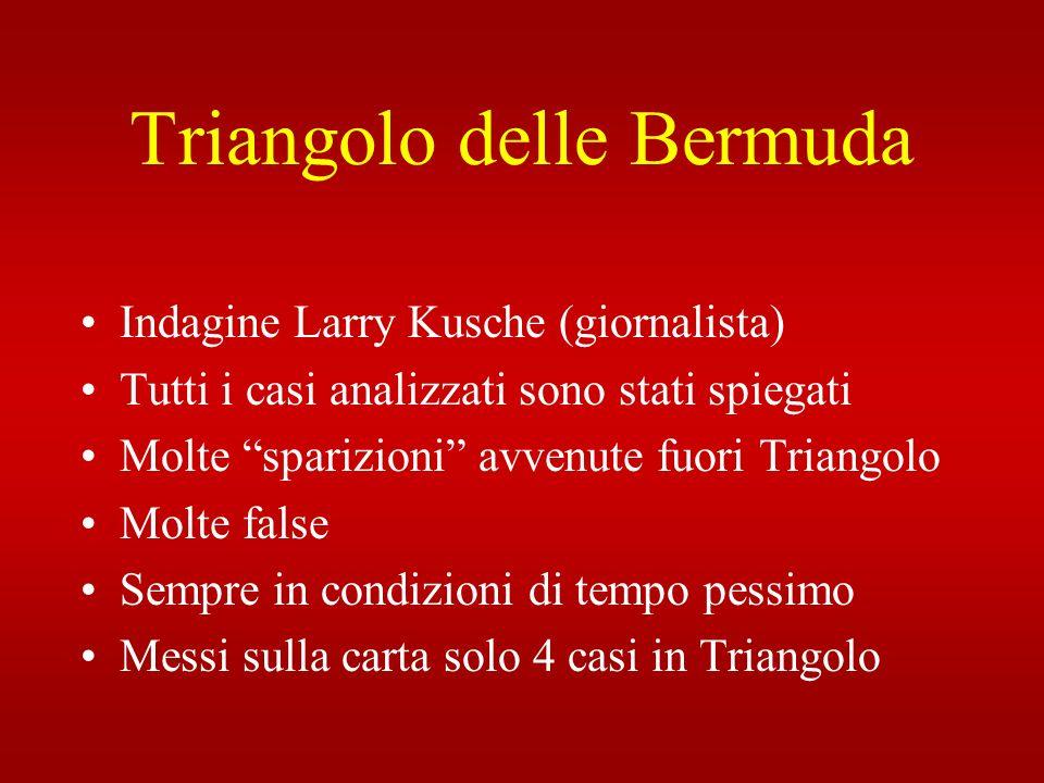 Triangolo delle Bermuda Indagine Larry Kusche (giornalista) Tutti i casi analizzati sono stati spiegati Molte sparizioni avvenute fuori Triangolo Molt
