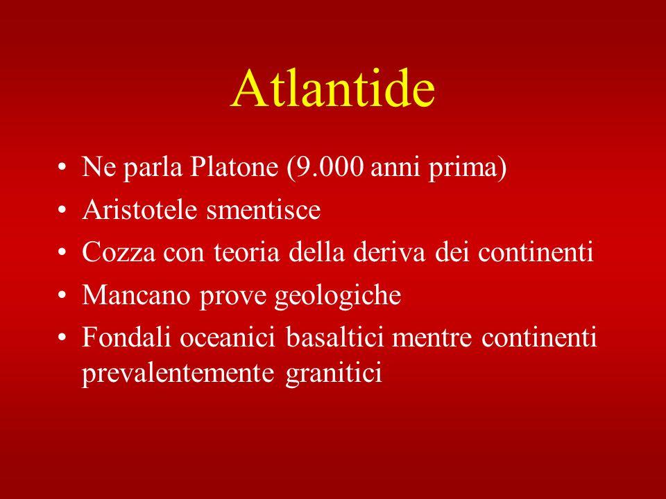 Atlantide Ne parla Platone (9.000 anni prima) Aristotele smentisce Cozza con teoria della deriva dei continenti Mancano prove geologiche Fondali ocean