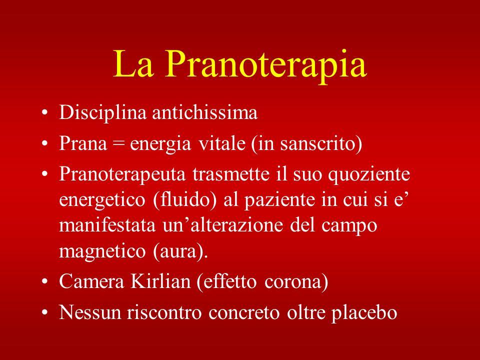 La Pranoterapia Disciplina antichissima Prana = energia vitale (in sanscrito) Pranoterapeuta trasmette il suo quoziente energetico (fluido) al pazient