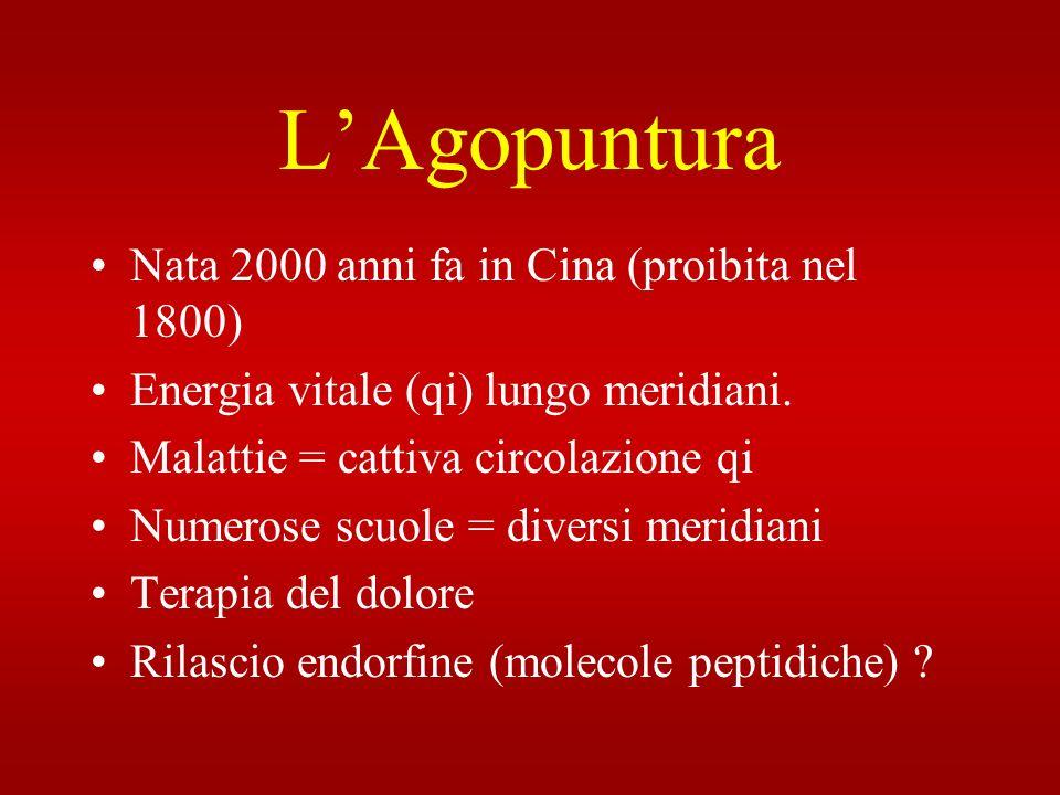 LAgopuntura Nata 2000 anni fa in Cina (proibita nel 1800) Energia vitale (qi) lungo meridiani. Malattie = cattiva circolazione qi Numerose scuole = di