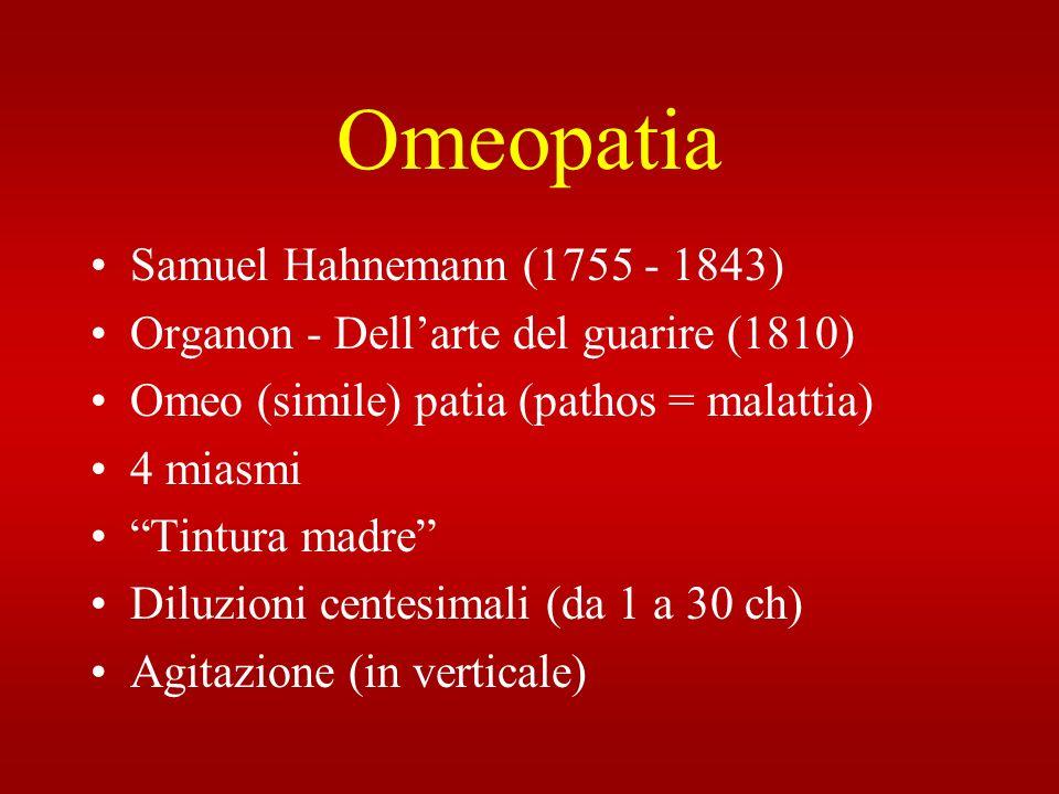 Omeopatia Samuel Hahnemann (1755 - 1843) Organon - Dellarte del guarire (1810) Omeo (simile) patia (pathos = malattia) 4 miasmi Tintura madre Diluzion