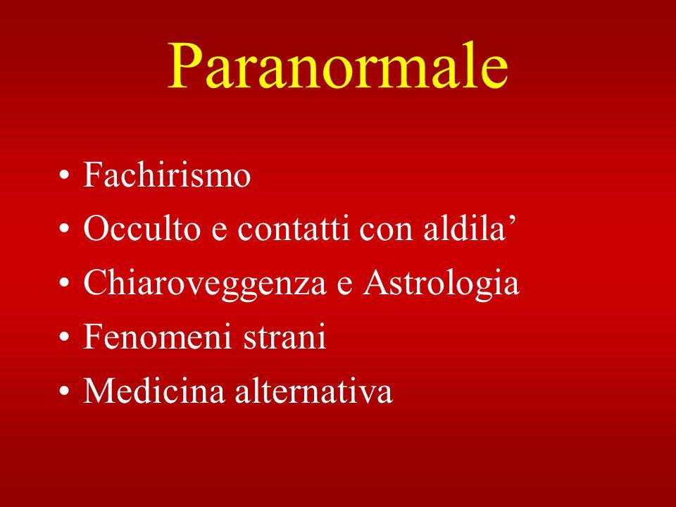 Paranormale Fachirismo Occulto e contatti con aldila Chiaroveggenza e Astrologia Fenomeni strani Medicina alternativa