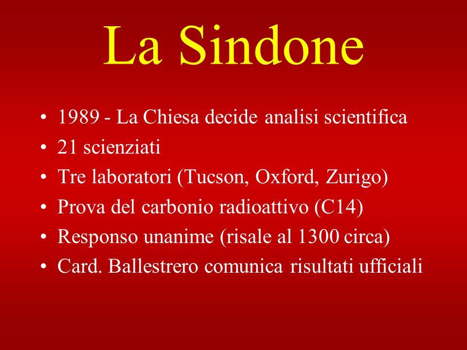 La Sindone 1989 - La Chiesa decide analisi scientifica 21 scienziati Tre laboratori (Tucson, Oxford, Zurigo) Prova del carbonio radioattivo (C14) Resp