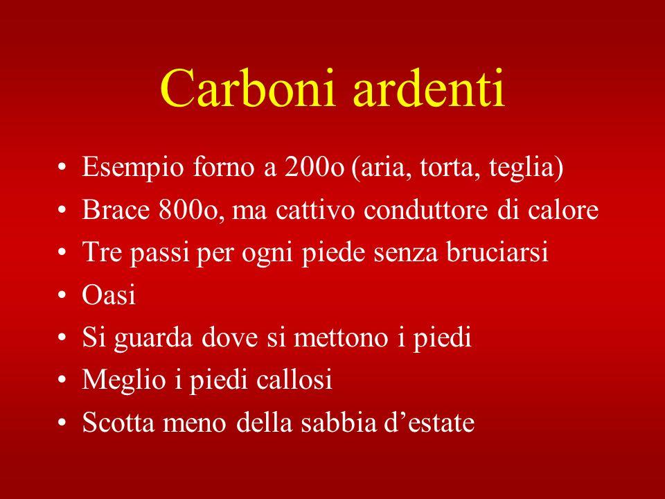 Carboni ardenti Esempio forno a 200o (aria, torta, teglia) Brace 800o, ma cattivo conduttore di calore Tre passi per ogni piede senza bruciarsi Oasi S