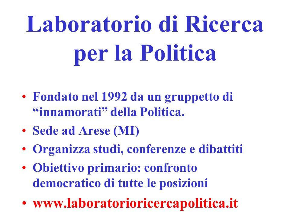 Laboratorio di Ricerca per la Politica Fondato nel 1992 da un gruppetto di innamorati della Politica.
