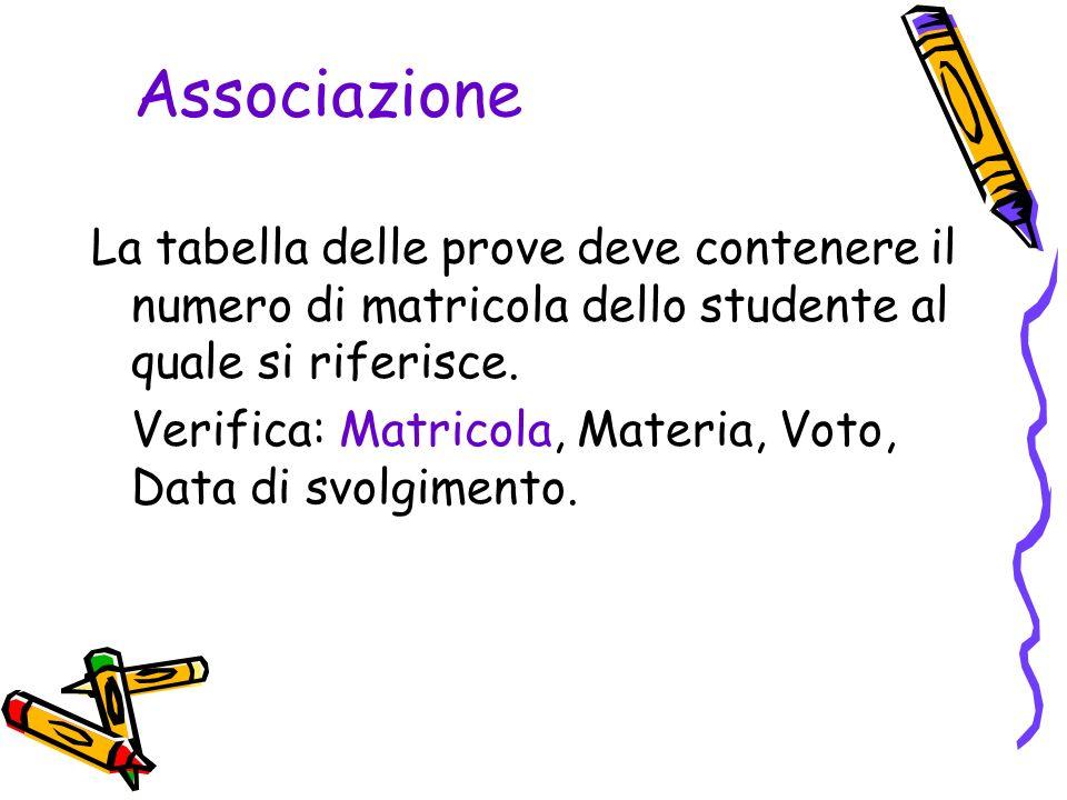 Associazione La tabella delle prove deve contenere il numero di matricola dello studente al quale si riferisce.