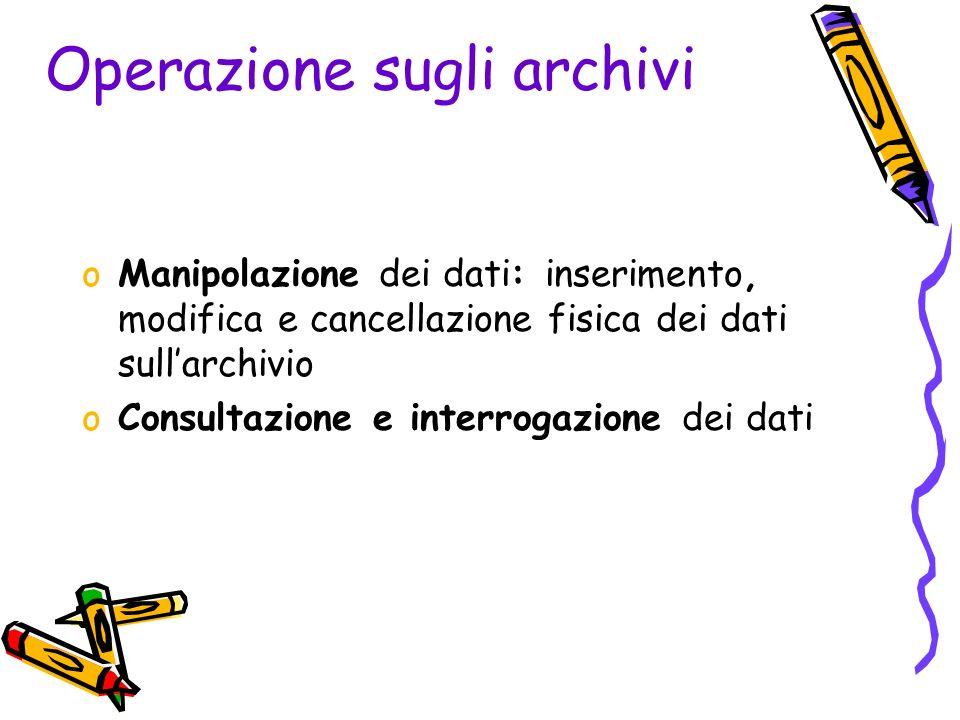 Operazione sugli archivi oManipolazione dei dati: inserimento, modifica e cancellazione fisica dei dati sullarchivio oConsultazione e interrogazione dei dati