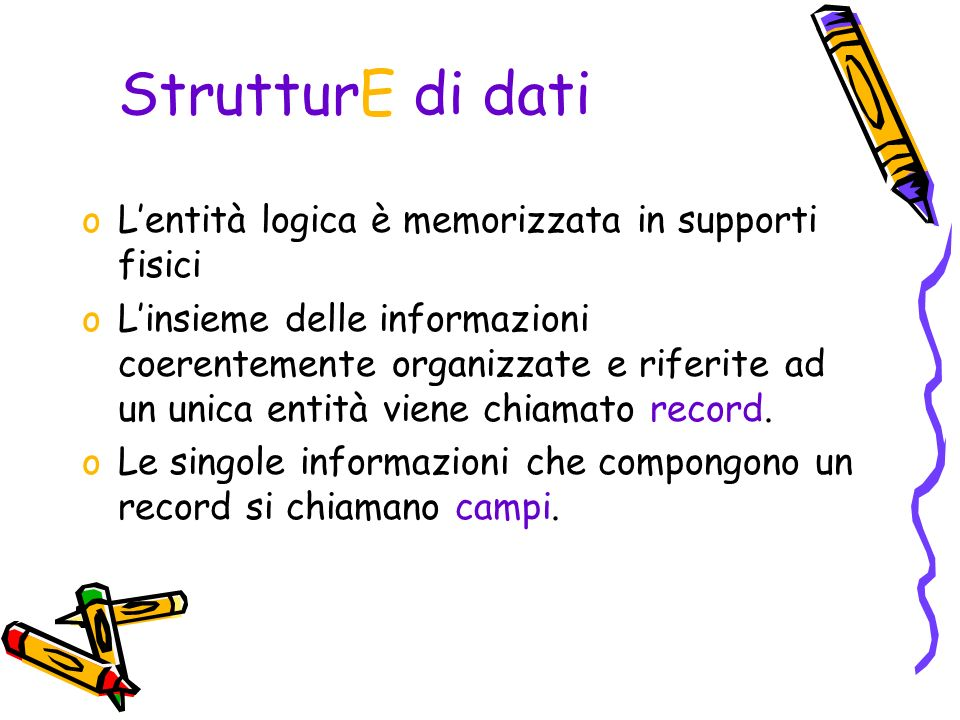 Entità logica: Studente (es.file, tabella).