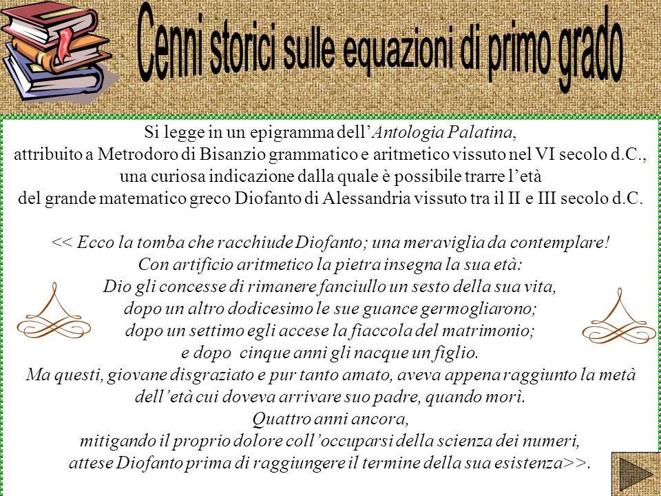 Si legge in un epigramma dellAntologia Palatina, attribuito a Metrodoro di Bisanzio grammatico e aritmetico vissuto nel VI secolo d.C., una curiosa in