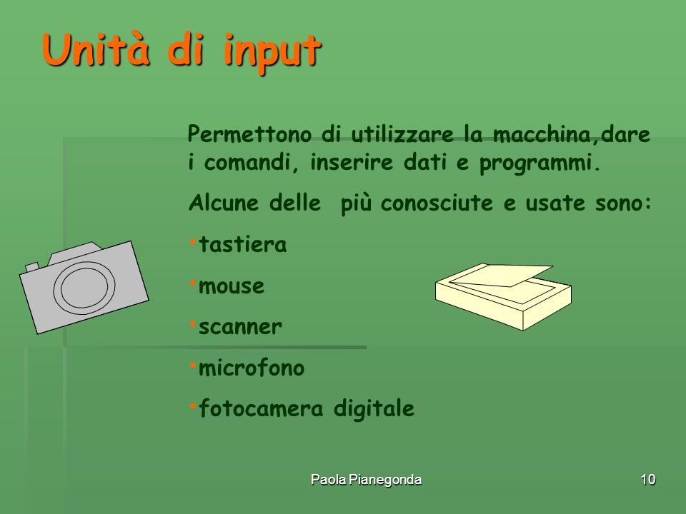 Paola Pianegonda10 Permettono di utilizzare la macchina,dare i comandi, inserire dati e programmi. Alcune delle più conosciute e usate sono: tastiera