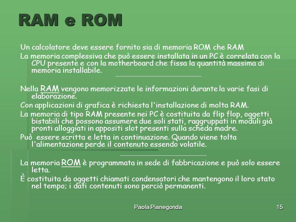 Paola Pianegonda15 Un calcolatore deve essere fornito sia di memoria ROM che RAM La memoria complessiva che può essere installata in un PC è correlata