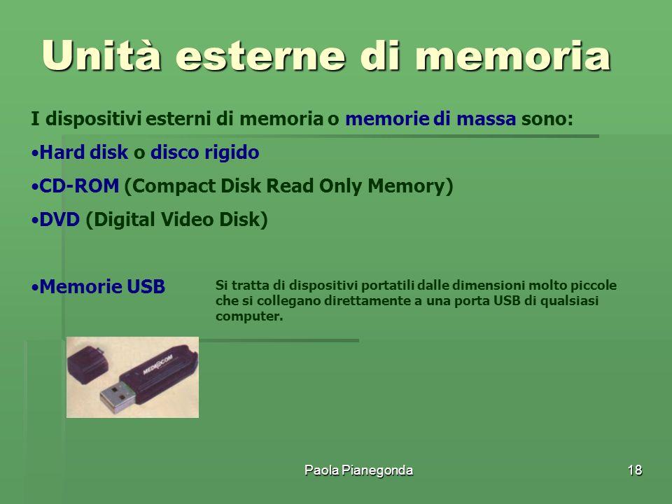 Paola Pianegonda18 I dispositivi esterni di memoria o memorie di massa sono: Hard disk o disco rigido CD-ROM (Compact Disk Read Only Memory) DVD (Digi