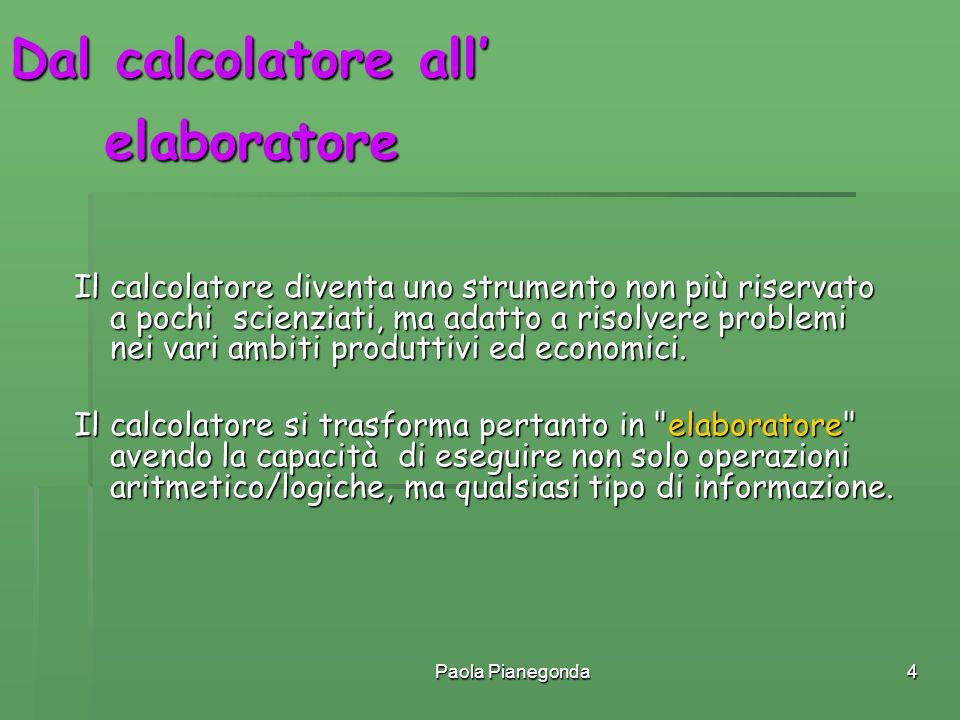 Paola Pianegonda4 Dal calcolatore all Il calcolatore diventa uno strumento non più riservato a pochi scienziati, ma adatto a risolvere problemi nei va