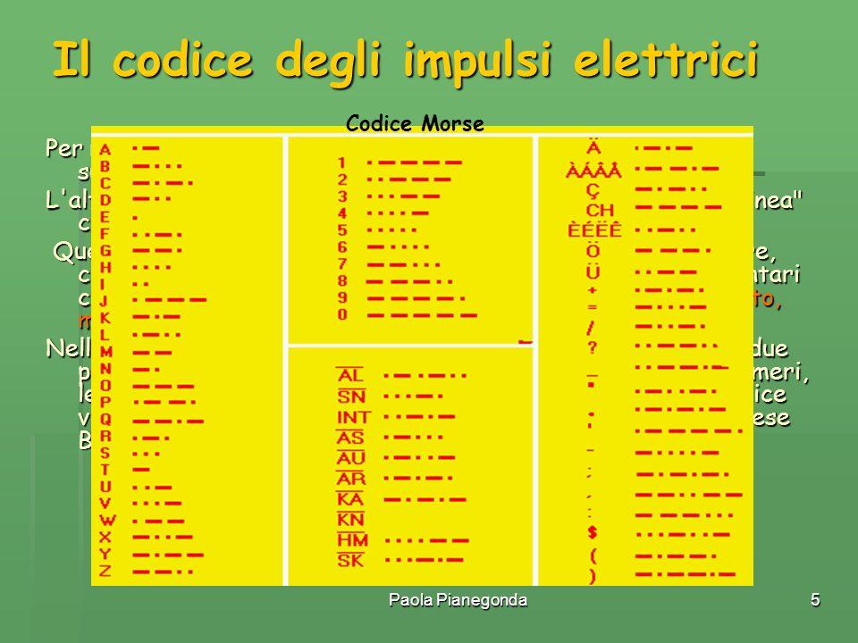 Paola Pianegonda5 Il codice degli impulsi elettrici Per rappresentare un dato (un numero, una lettera ecc.) sono sufficienti due soli simboli. L'alfab