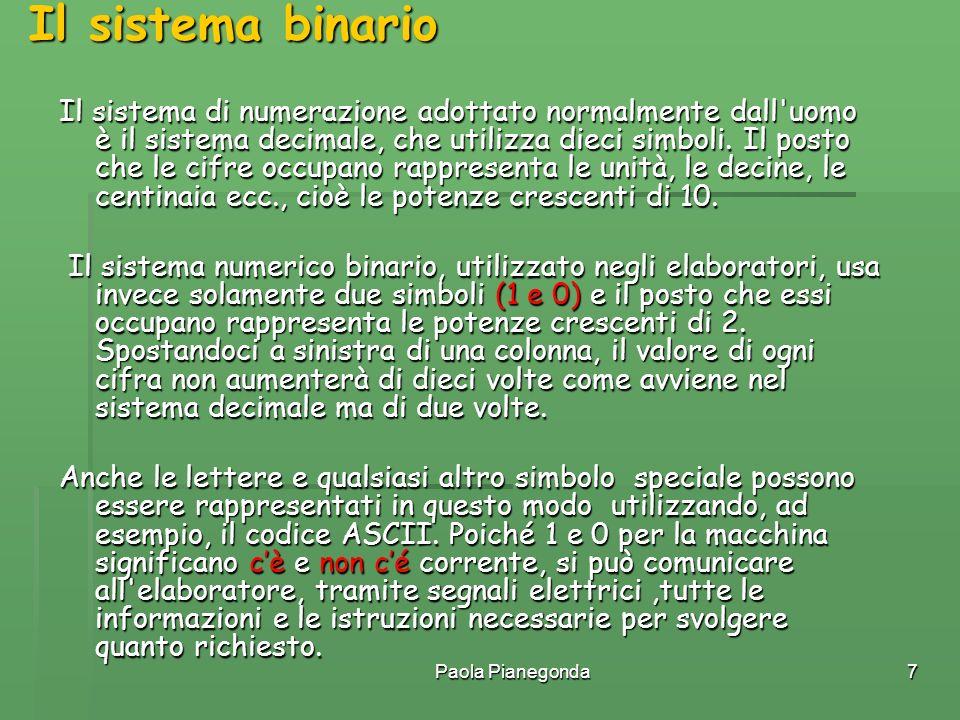 Paola Pianegonda7 Il sistema di numerazione adottato normalmente dall'uomo è il sistema decimale, che utilizza dieci simboli. Il posto che le cifre oc