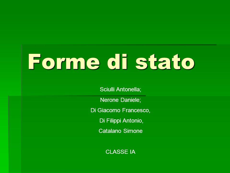 Forme di stato Sciulli Antonella; Nerone Daniele; Di Giacomo Francesco, Di Filippi Antonio, Catalano Simone CLASSE IA