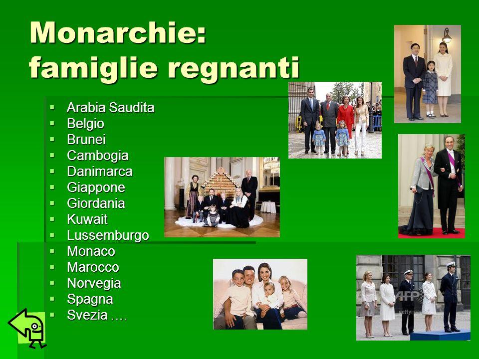 Monarchie: famiglie regnanti Arabia Saudita Arabia Saudita Belgio Belgio Brunei Brunei Cambogia Cambogia Danimarca Danimarca Giappone Giappone Giordan