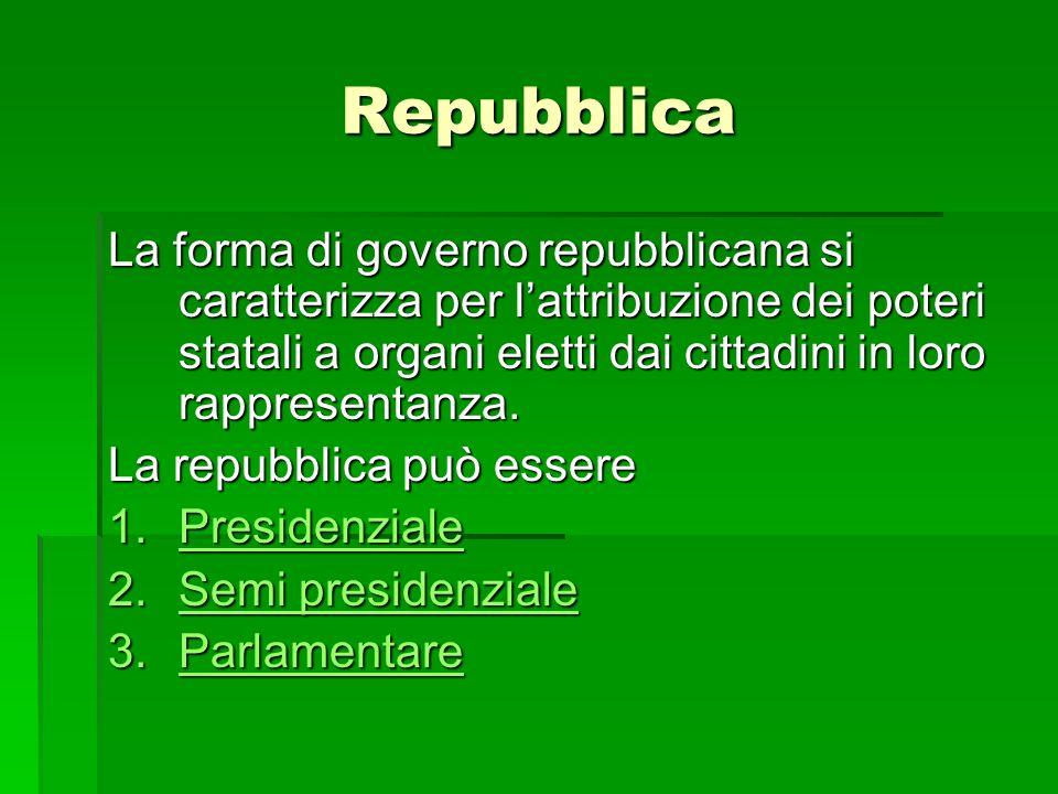 Repubblica La forma di governo repubblicana si caratterizza per lattribuzione dei poteri statali a organi eletti dai cittadini in loro rappresentanza.