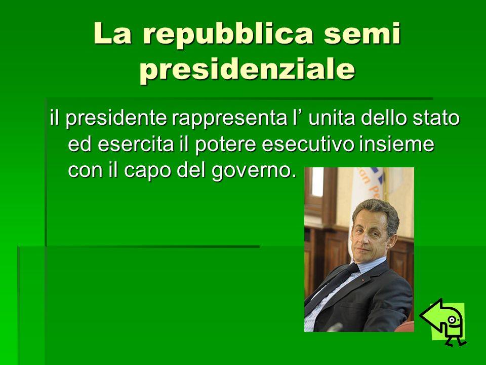 La repubblica semi presidenziale il presidente rappresenta l unita dello stato ed esercita il potere esecutivo insieme con il capo del governo.