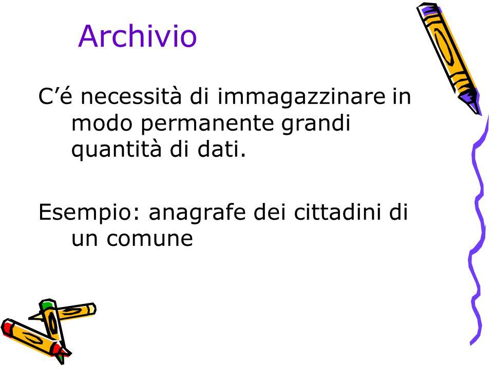 Archivio Cé necessità di immagazzinare in modo permanente grandi quantità di dati.